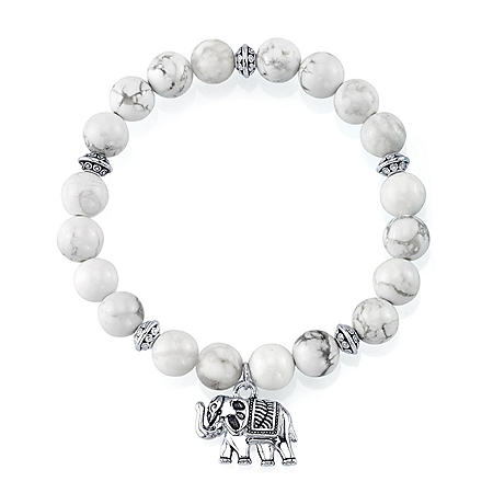 Sterling Silver and White Howlite Bead Stretch Bracelet with Sterling Silver Charm