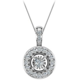 0.09 CT. T.W. Diamond Pendant in 14K White Gold