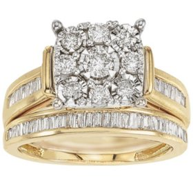1.00 ct. t.w. Diamond Bridal Set in 14k Gold (HI, I1)