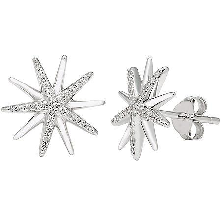 0.14 CT. T.W. Sterling Silver Diamond Starburst Earrings