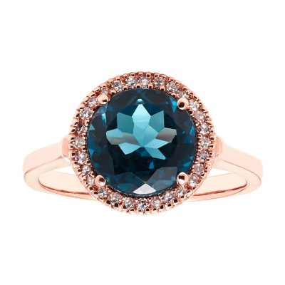 Details about  /Blue Topaz Gemstone Anniversary Jewelry 10k Rose Gold Ring