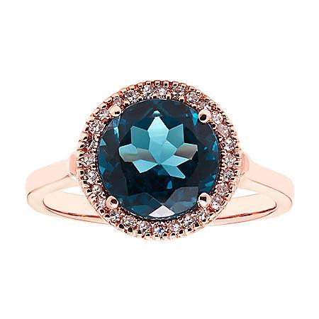 0.10 CT. T.W. London Blue Topaz & Diamond Ring in 14K Rose Gold
