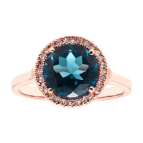 0.10 CT. T.W. London Blue Topaz & Diamond Ring in 14K Rose Gold
