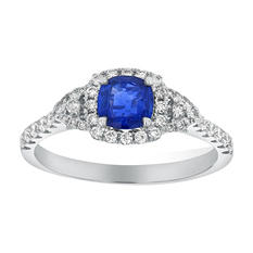 0.70 Carat Blue Sapphire Cushion Cut Diamond Ring in 14K White Gold