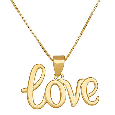 "18"" ""Love"" Script Pendant in 14K Yellow Gold"