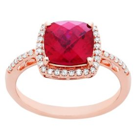 Created Ruby Ring with Diamond Accent in 14K Rose Gold