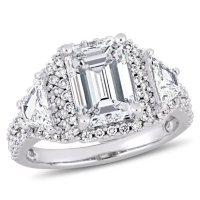 Allura 3.68 CT. Emerald Cut Diamond Three Stone Halo Engagement Ring in 14k White Gold