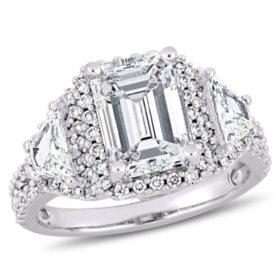 Allura 3.75 CT Emerald Cut Diamond 3-Stone Halo Engagement Ring in 14k White Gold