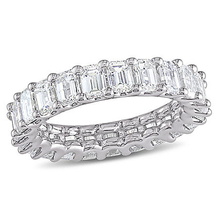 Allura 3.75 CT Emerald Cut Diamond Eternity Ring in 18k White Gold