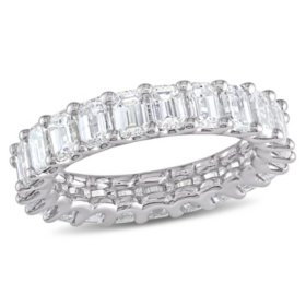 Allura 3.68 CT Emerald Cut Diamond Eternity Anniversary Ring in 18k White Gold