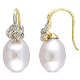 10-10.5 mm White Drop South Sea Pearl and 0.26 CT. Diamond Floral Earrings in 14K Yellow Gold