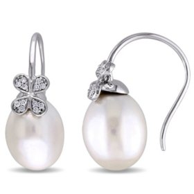 11.5-12 mm White Drop South Sea Pearl and 0.12 CT. Diamond Flower Earrings in 14K White Gold