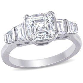 Allura 2 CT Asscher Cut Diamond Five Stone Engagement Ring in 18k White Gold