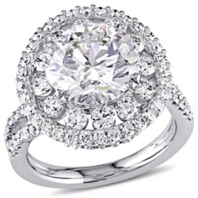 Allura 5.28 CT Diamond Double Halo Split Shank Engagement Ring in 18K White Gold