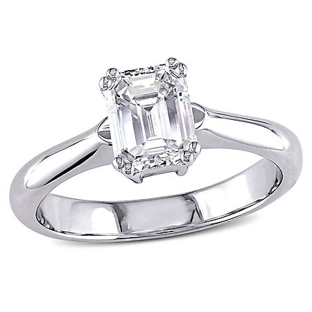 Allura 1.58 CT Emerald Cut Diamond Solitaire Engagement Ring in 14K White Gold