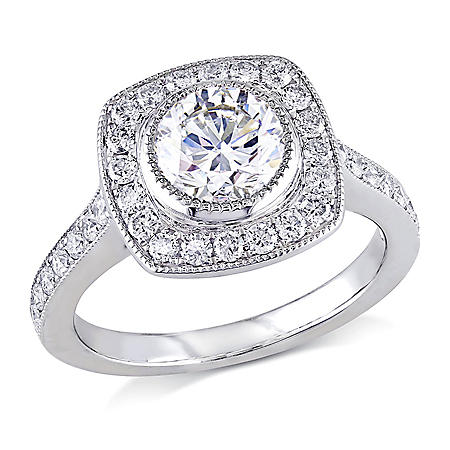 Allura 1.50 CT Diamond Bezel Set Halo Engagement Ring in 18K White Gold