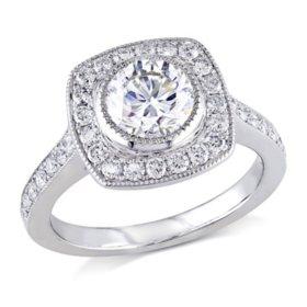 Allura 1.45 CT. Diamond Halo Engagement Ring in 18k White Gold