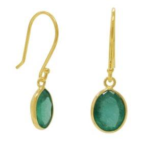 Oval Shaped Emerald Dangle Earrings in 14 Karat Yellow Gold