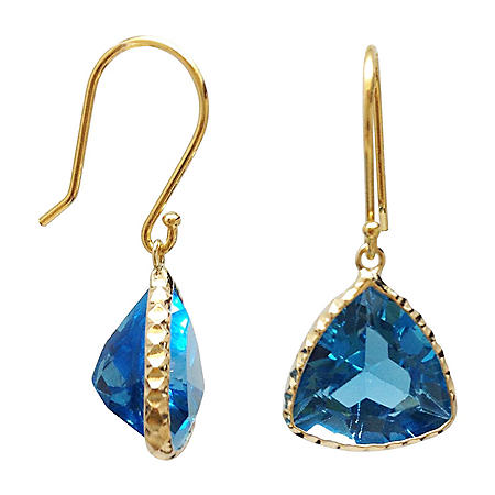 Trillion Cut Swiss Blue Topaz Dangle Earrings in 14 Karat Yellow Gold