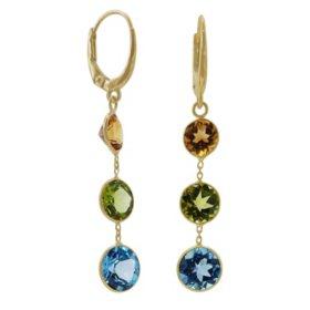 Multi Gemstone Earrings in 14 Karat Yellow Gold