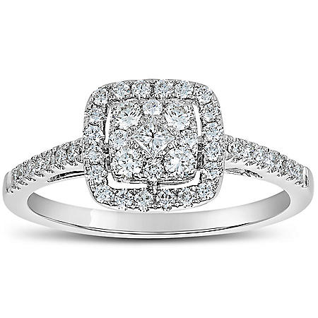 0.50 CT. T.W. Cushion Shaped Diamond Engagement Ring in 14 Karat White Gold