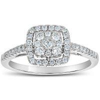 0.50 CT. T.W. Cushion Shaped Diamond Engagement Ring in 14 Karat White Gold