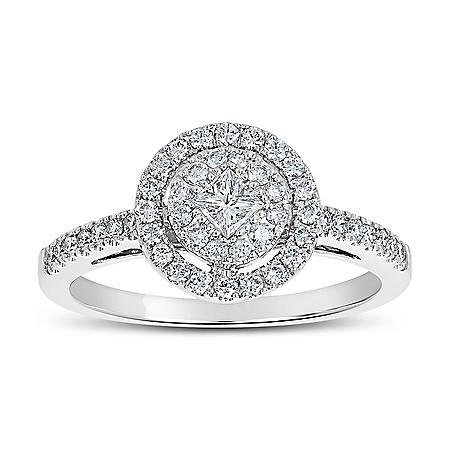 0.50 CT. T.W. Round Shaped Diamond Engagement Ring in 14 Karat White Gold