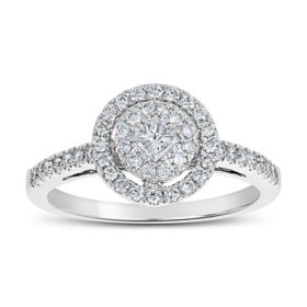 0.50 CT. T.W. Round Shaped Diamond Engagement Ring in 14 Karat White Gold