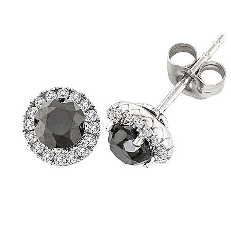 1.5 CT. T.W. Black & White Diamond Stud Earrings in 14 Karat White Gold