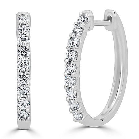 0.49 CT. T.W. Prong-Set Diamond Hoop Earrings in 14K Gold (HI, I1)