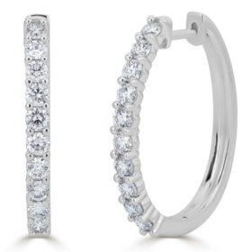 1.50 CT. T.W. Prong-Set Diamond Hoop Earrings in 14K Gold (HI, I1)