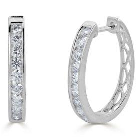 0.49 CT. T.W. Channel-Set Diamond Hoop Earrings in 14K Gold (HI, I1)