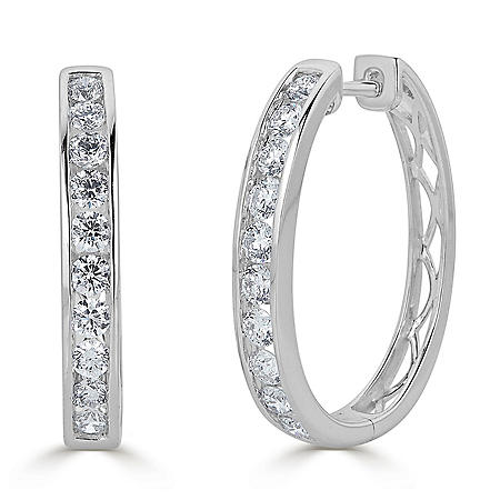 1.50 CT. T.W. Channel-Set Diamond Hoop Earrings in 14K Gold (HI, I1)