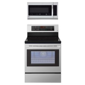 LG - LRE3193ST, LMHM2237ST - Single Oven Range with True Convection and OTR Microwave with ExtendaVent 2.0 Suite, Stainless Steel
