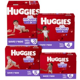 Huggies Little Movers Pick 3 Diaper Bundle (Choose Your Sizes)