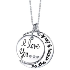 I Love You To The Moon and Back 925 Sterling Silver Heart Necklace Gift Pouch