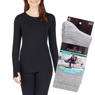 Cuddl Duds Women's Active Top & 6-Pack Sock