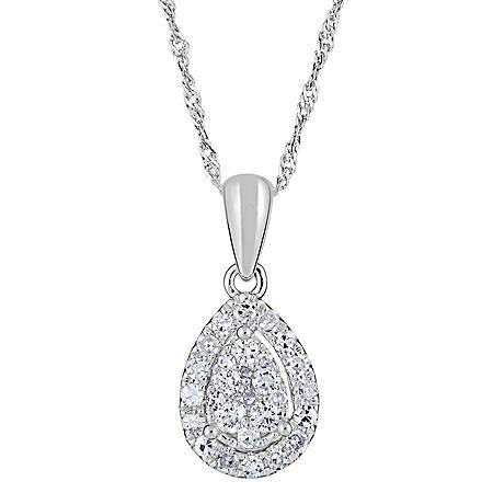 0.24 CT. T.W. Diamond Pear Shaped Pendant in 14K White Gold (H-I, I1)