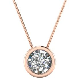 0.18 CT. T.W. Round Bezel Pendant in 14K Gold