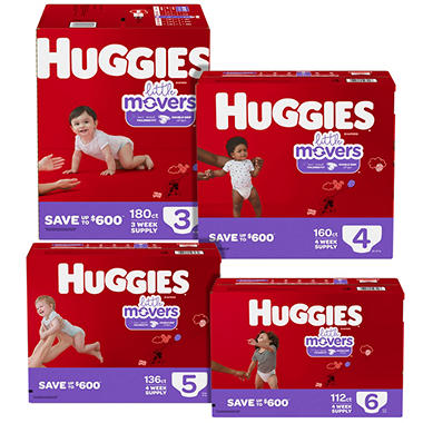 Huggies Little Movers Pick 6 Diaper Bundle