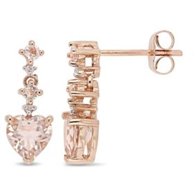 1.50 CT Morganite and Diamond-Accent Heart Drop Earrings in 14K Rose Gold