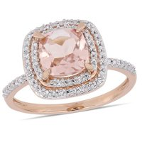 Morganite and Diamond Accent Double Halo Ring in 14K Rose Gold