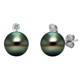 8-9mm Tahitian Pearls with Diamond Stud Earrings in 14K White Gold