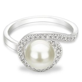 Freshwater Pearl & Topaz Spiral Ring in Sterling Silver
