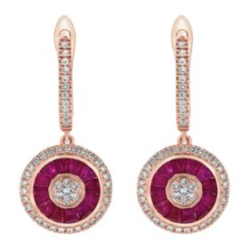 S Collection Diamond and Ruby Art Deco Earrings in 14K Pink Gold