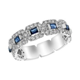 S Collection Blue Sapphire and Diamond Anniversary Ring in 14K White Gold