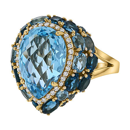 S Collection Pear Shaped Blue Topaz Diamond Ring in 14K Yellow Gold