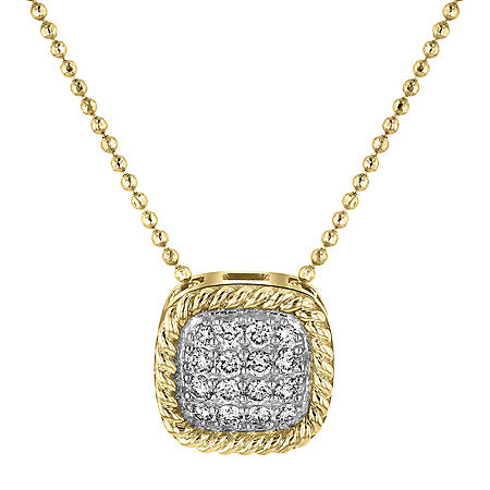 S Collection 1/4 CT. T.W. Pave-Style Diamond Cushion Pendant in 14K Twist Frame Yellow Gold