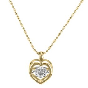 S Collection Moving Diamond Composite Heart Pendant in 14K Yellow Gold