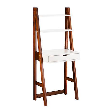 SEI Bink Leaning Desk, White with Weathered Oak